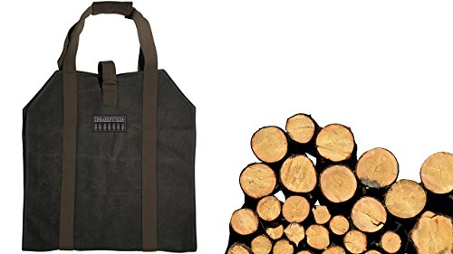 - GSM Brands Firewood Log Carrier, Waxed Canvas with Hook-and-Loop Fastener Strap Handle for Heavy Duty Use (Large Size)