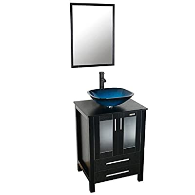 eclife 24'' Modern Bathroom Vanity And Sink Combo Stand Cabinet and Square Blue Glass Vessel Sink and 1.5 GPM Bathroom Brass Faucet and Brass Pop Up Drain & Mounting Ring A4B2