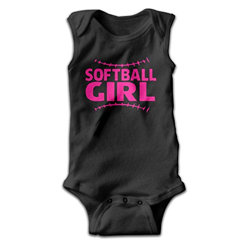 (Unisex Baby Softball Girl With Stitches Funny Bodysuits Rompers Outfits 100% Cotton 6 M Baby Shower Gifts)