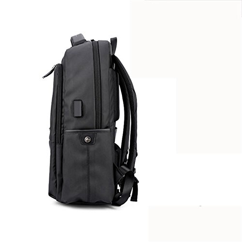 cloth Laptop USB Black Rucksack inch Waterproof charging Business Casual 18 Backpack port With Oxford HgTgq4w