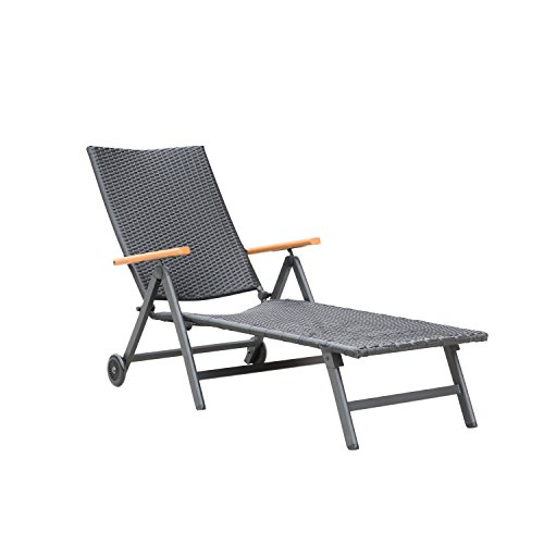 Supernova Lounge Patio Chair Outdoor Yard Beach Table and Chair Set (1pc Wicker) (Outdoor Wicker Chaise)
