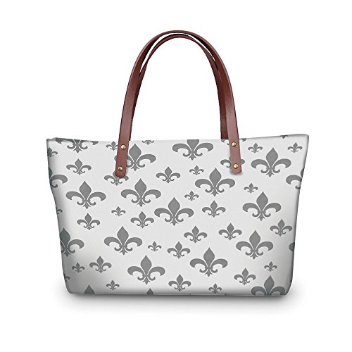 Fleur De Lis Classic Wallet - iPrint Design the fashion for you Waterproof Women Casual Handbag Tote Bags,Fleur De Lis Decor,Ethnic Lily Pattern Classic Retro Royal Vintage European Iris Ornamental Artwork,Grey.