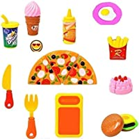 WON Plastic Kitchen/Restaurant Role Pretend Pizza Cutting Play Fast Food Set (Multicolour)