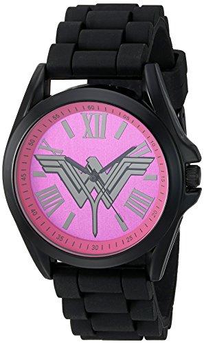 DC Comics Womens Quartz Metal and Silicone Casual Watch, Color:Black (Model: BVS9057)