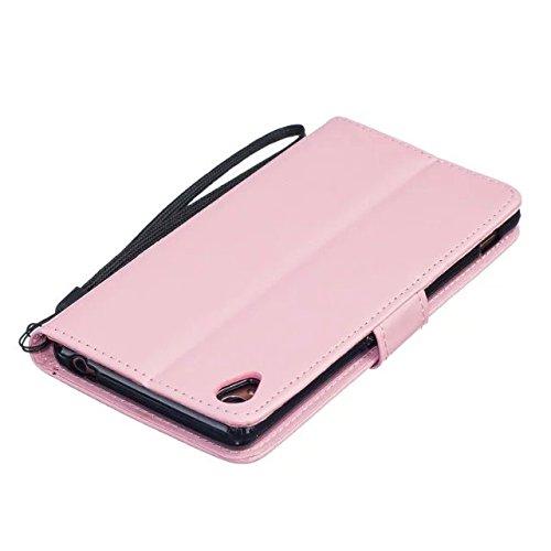 SRY-Funda simple Estuche Sony Z3, cubierta de la caja de cuero de la PU de alta calidad Premium Cubierta de la caja del soporte de la cartera de diente de león en relieve de color sólido para Sony Z3  Pink
