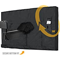 Outdoor TV Cover 40 - 43 Inch LED Flatscreen TV With Bottom Cover   Weatherproof and Dust-Proof Material   Universal Wall Mount Wall Bracket and Stand Compatible   Heavy Duty Smart TV Remote Cover