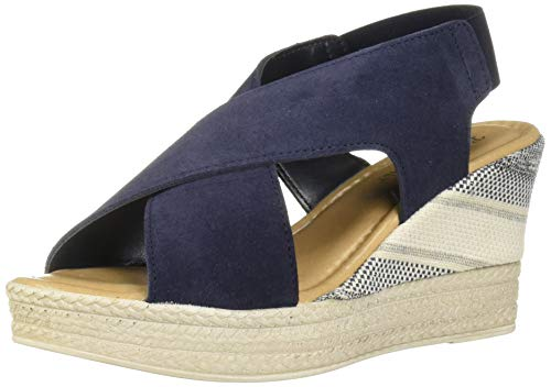 Bella Vita Women's Bec-Italy Slingback Sandal with Gore Shoe, Navy Italian Suede Leather, 7 2W US