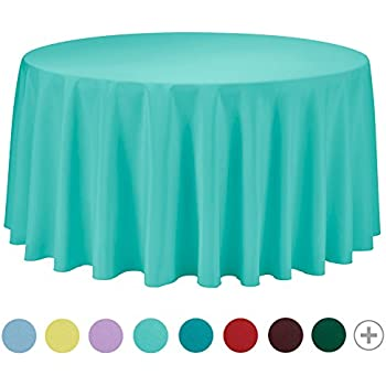 VEEYOO 120 Inch Round Solid Polyester Tablecloth For Wedding Restaurant  Party Bridal Shower Kitchen Decoration Washable, Turquoise