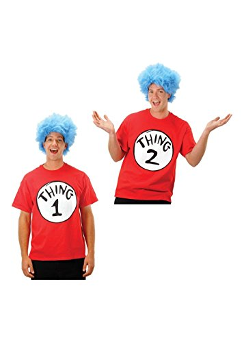 Thing 1 and Thing 2 Shirt and Wig Men/women Costumes (Thing 1 And 2 Costumes)