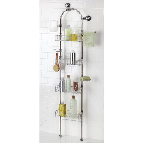 interdesign forma bathroom floor standing shower caddy station for shampoo conditioner soap. Black Bedroom Furniture Sets. Home Design Ideas