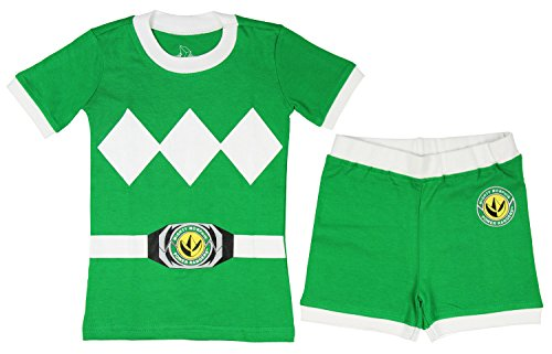 Power Ranger Toddler Boys' Mighty Morphin Pajama Short Set, Green, 3T (Power Rangers Short)