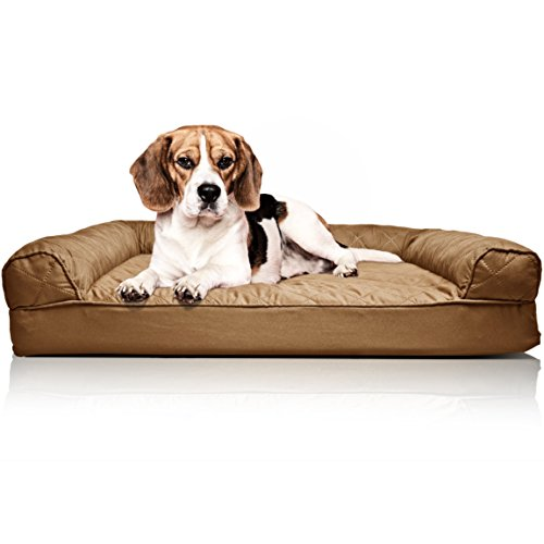FurHaven Pet Dog Bed | Orthopedic Quilted Sofa-Style Couch Pet Bed for Dogs & Cats, Toasted Brown, Medium (Bed Sale Dogs For)