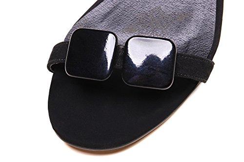 Adee Black Open Toe Sheepskin Sole Sandals Slipper Ladies Outdoor r8rwqS