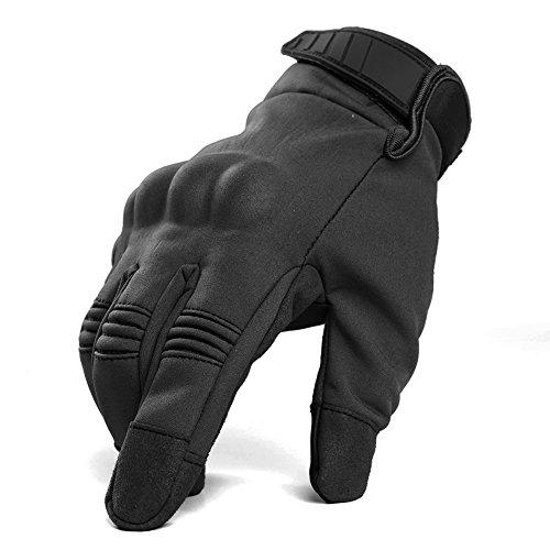 TACVASEN Men's Tactical Combat Touch Screen Full Finger Waterproof Motorcycle Gloves Black