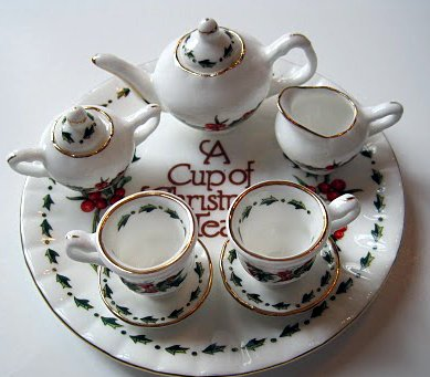 A Cup of Christmas Tea Miniature Tea Set - Bone China -