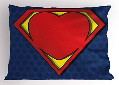 "Ambesonne Superhero Pillow Sham, My Super Hero Shield Logo with Heart Valantines Romance Print, Decorative Standard Queen Size Printed Pillowcase, 30"" X 20"", Night Blue"
