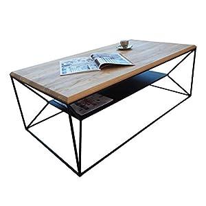 Lumarc Teramo Table de Salon en Bois Massif de chêne Naturel au Design Moderne Industriel Minimaliste, chêne…