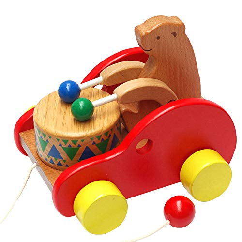 GRACEON Wooden Bear Drumming | Early Childhood Educational Children's Toys | Dragging Toddler Toys | Pull Toy Children -