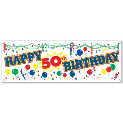 Happy 50th Birthday Sign Banner Party Accessory (1 count) -