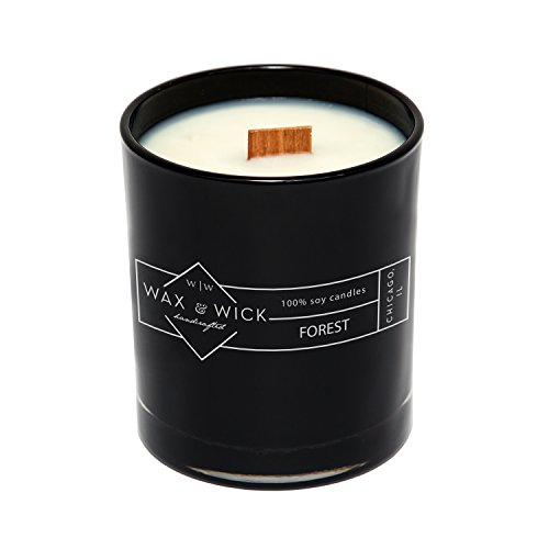Scented Soy Candle: 100% Pure Soy Wax with Wood Double Wick | Burns Cleanly up to 60 Hrs | Forest Scent with Notes of Bergamot, Neroli, Jasmine | 12 oz Black Jar by Wax and Wick ()
