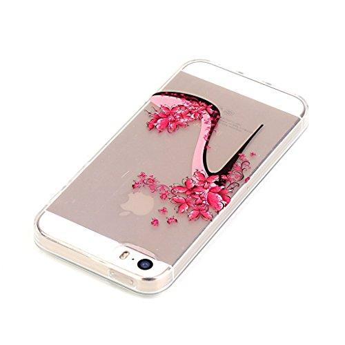 Custodia iPhone 5 5S SE , LH Scarpe Con Tacco Trasparente Silicone Morbido TPU Case Cover Custodie per Apple iPhone 5 5S SE