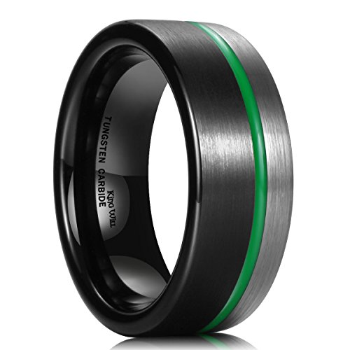 King Will Loop 8mm Tungsten Carbide Wedding Band Green Plated Grooved Ring Black and Silver Brushed Comfort Fit 9