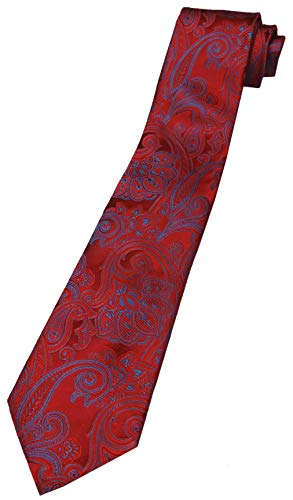 Donald Trump Signature Collection Neck Tie Red and Blue Paisley with Gold Emblem - Collection Trump Signature