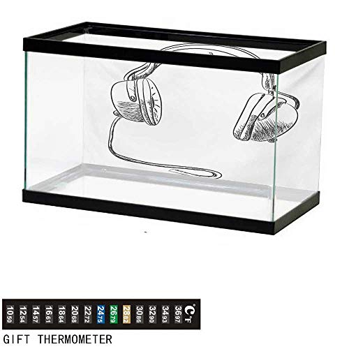 wwwhsl Aquarium Background,Music,Sketch Style Hand Drawn DJ Headphones Rhythm Radio Modern Hippie Art Illustration,Black White Fish Tank Backdrop 30