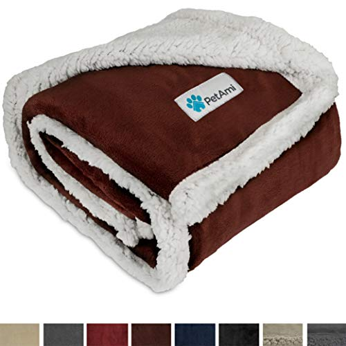 PetAmi Premium Puppy Blanket | Pet Small Dog Blanket for Cats, Kitten | Soft, Warm, Plush, Reversible Fleece Sherpa Throw - 30x40 Inches Brown