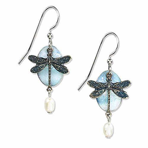 (Silver Forest Turquoise Dragonfly Earrings)