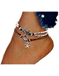 Anklets Good Luck Hotwife Cuckold Ankle Braclet Anklet Turtle Infinity With Turquoise