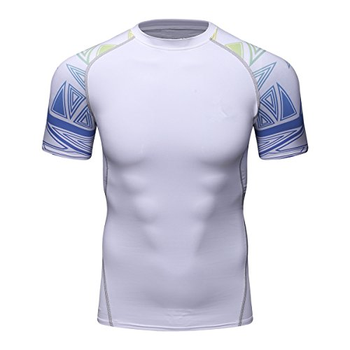 Fanii Quare Men's Lightweight Short Sleeve Cool Dry Rashguards Compression Sports Workout T-Shirt White 07 L (T-shirt 07 Womens)