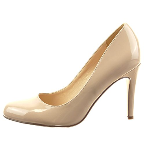 Sopily - Zapatillas de Moda Tacón escarpín stiletto Tobillo mujer patentes Talón Tacón de aguja alto 9 CM - plantilla sintético - Beige