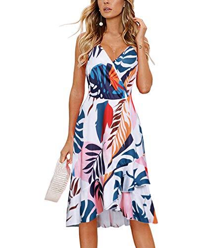 STYLEWORD Women Dress Summer V Neck Floral Print Swing Dress Sleeveless Spaghetti Strap Dresses(Floral04,S)