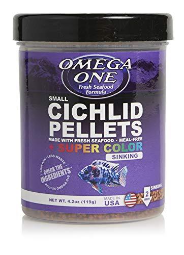 Omega One Super Color Sinking Cichlid Pellets, 2mm Small Pellets, 4.2 oz