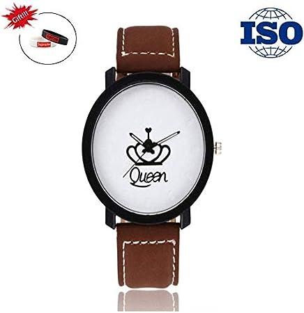 LXDDP Queen Crown Couple Watch Reloj Acero Inoxidable Fashion Leisure Quartz Glass Mirror 25CM * 6CM Reloj Hombre