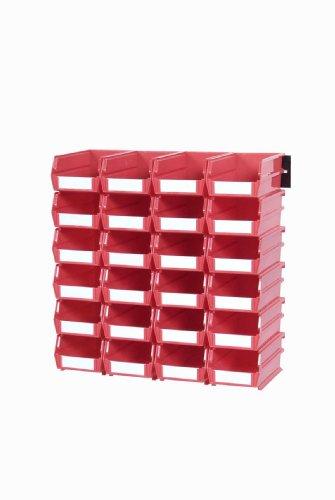 (Triton Products 3-220RWS LocBin 26 Piece Wall Storage Unit with 7-3/8 Inch L x 4-1/8 Inch W x 3 Inch H Red Interlocking Poly Bins, 24 CT, Wall Mount Rails)