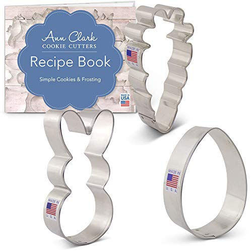 Easter Fun Cookie Cutter Set with Recipe Booklet - 3 piece - Easter Bunny, Egg and Carrot - Ann Clark - USA Made Steel ()