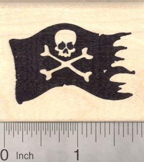Jolly Roger Pirate Flag Rubber Stamp Skull And Cross Bones