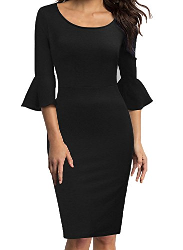 (WOOSEA Womens Flounce Bell Sleeve Scoop Neck Office Work Casual Pencil Dress (Black, Large))