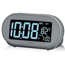 DreamSky Auto Time Set Alarm Clock with Snooze & Full Range Dimmer 0-100% Adjustable Brightness, USB Charging Port, Auto DST, 4 Time Zones Alarm Clocks for Adult Kids Bedrom
