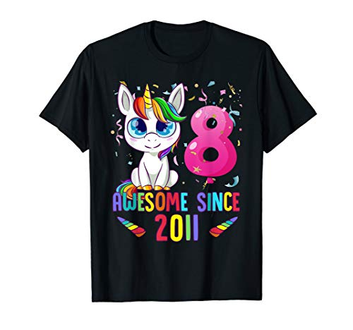 8 Years Old 8th Birthday Unicorn Shirt Girl