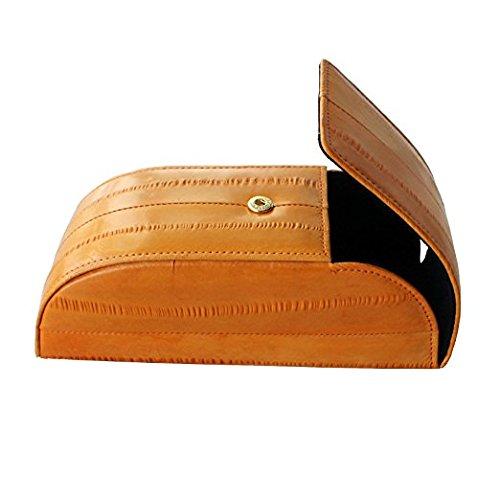 Dark orange Genuine Eel Skin Sunglasses Case Eyeglasses Case Hard Case Eyewear Protector Box