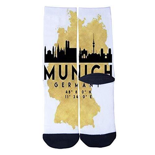 Eletina lee Men S Women S Custom Munich Germany Skyline Map Art Socks 3D Print Novel Creative Casual Crew Socks]()