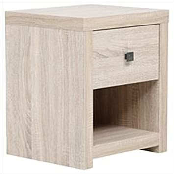 NEW Torino 1 Drawer Bedside Table   Distressed Bleached Oak Effect