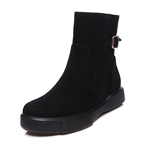 HSXZ Zapatos de Mujer de cuero de nubuck caer nieve botas de invierno botas de moda botas Bota Plano redondeado Toe botines/botines botas Mid-Calf hebilla Black