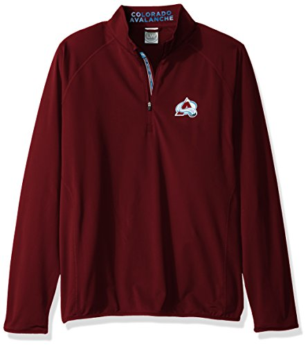 NHL Colorado Avalanche Men's Metro Insignia Banner Stripe Quarter Zip Mid-Layer Apparel, Large, Maroon