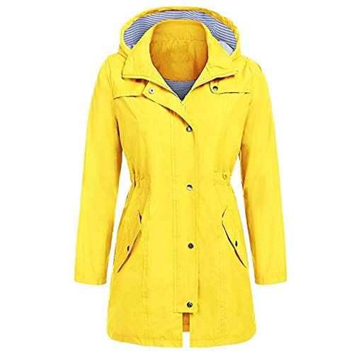 MIRRAY Womens Ladies Jackets Winter Autumn Solid Long Sleeve Full Zipper Outerwear Outdoor Hoodie Coat Waterproof Hooded Casual Loose Large Size Raincoat Windproof with Pockets Yellow