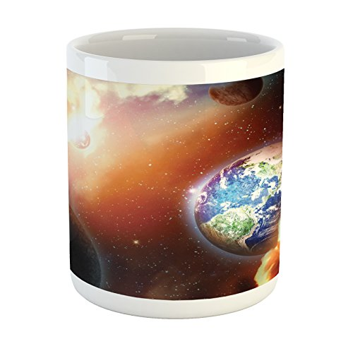 Ambesonne Space Mug, Dust Cloud Nebula Stars in Solar System Scene with Planet Earth Pluto and Neptune, Printed Ceramic Coffee Mug Water Tea Drinks Cup, Orange Blue by Ambesonne