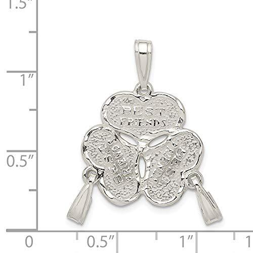 Sterling Silver 3-Piece Best Friends Heart Charm (0.9in)